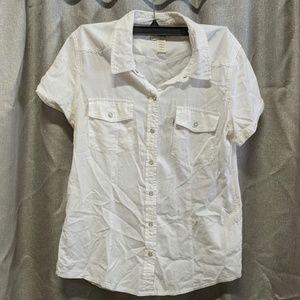 White snap button up white cotton Levi's shirt